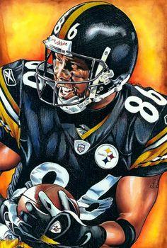 Hines Ward Steelers - pen watercolor and acrylic by Bob Weaver. Pittsburgh Steelers Wallpaper, Pittsburgh Steelers Players, Go Steelers, Pittsburgh Sports, Pittsburgh Penguins, Pitt Steelers, New York Giants Football, Football Art, Football Helmets