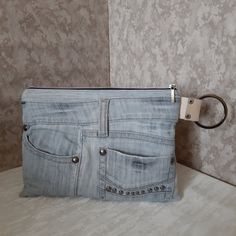 Gray denim clutch bag Casual clutch bag of recycled jeans | Etsy