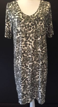1ffde413b339 J Jill Wearever Dress White Black Short Sleeves Size M Rayon Spandex  JJill   ShortSleeveDress