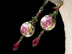 Fuchsia Pink & White Rosebud Crystal Dangle Drop Victorian Earrings Antique Gold Bronze Filigree Titanic Temptations Vintage Bridal Jewelry