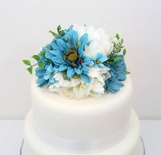 186 best it tops the cake silk floral wedding cake toppers and wedding cake topper limpet shell ocean blue gerbera rose white peony silk flower cake topper wedding cake flowers silk flower topper mightylinksfo