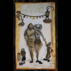Családi séta ( Kavicskép) #akőlelke #kavicsképek #papptimi #pt #pebbleart #család