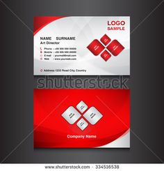 red & silver Business card design template vector illustration
