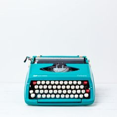 Vintage Typewriter Blue Smith Corona Mid