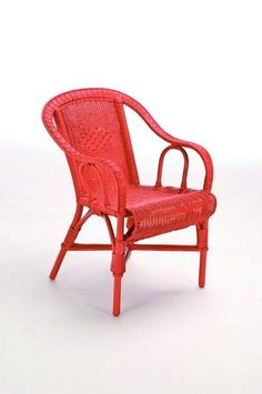 Fauteuil rotin Crapaud rouge corail