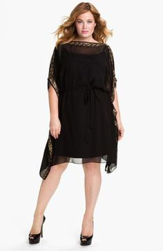 Aidan Mattox Beaded Kimono Sleeve Chiffon Dress (Plus) available at vestido negro talla XXL, plus size Plus Size Wedding Guest Dresses, Plus Size Dresses, Plus Size Outfits, Vestidos Chiffon, Chiffon Dress, Lace Dress, Dress Outfits, Dress Up, Skater Dress