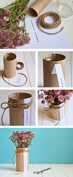 DIY: Herbstliche Blumendeko mit Sterndolen in Gläsern, Paketschnur und Packpapier