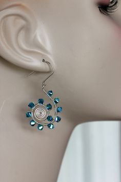 wire wrapped sterling silver spiral hoops w / sapphire Swarovski crystals - handmade earrings by girlthree
