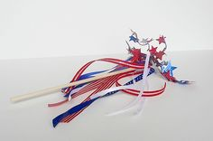 4th of July Ribbon Wands....easy. Could also use for decorations....porch, fence, bikes, jars, etc.