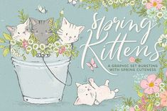 Spring cute kittens graphics bundle by Lisa Glanz on @creativemarket
