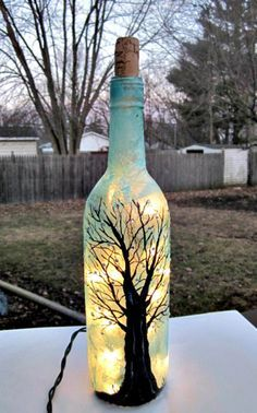 Wine Bottle Light, Night Light, Hand Painted Wine Bottle, Black Tree, Sparkles.Teal