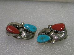 Vintage Sterling Silver Turquoise & Coral Clip Earrings, signed Simplicio  #SimplicioZuni