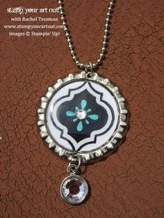Stampin' Up!® Mosaic Madness Soda Pop Top Charm for necklace and/or keychain - Stamp Your Art Out!