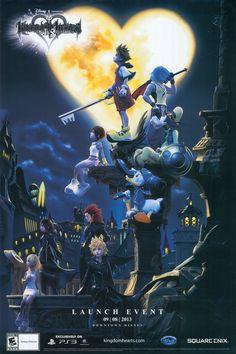 Poster promotional Sora, Riku, Kairi, Donal, Goofy, Namine, Roxas and Axel  - Illustration por/by Tetsuya Nomura Kingdom Hearts HD I.5 ReMIX