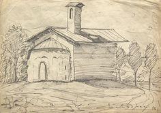 E. Besozzi pitt. 1956 Chiesa pennarello su carta velina cm. 23x32,4 arc. 751