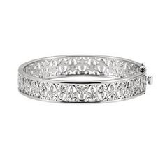 IceCarats Designer Jewelry 14K White Gold 1/2 Ctw Diamond Bangle Bracelet 7.00 Inch | Your #1 Source for Jewelry and Accessories