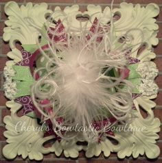 Mint Pink purple Over the Top bow with Ostrich feathers on headband. Made to Order by CherylsBowtasticBows