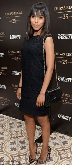 OUT and ABOUT: Kerry Washington toted a chain-strap Roger Vivier bag with her black Calvin Klein Collection shift and leopard print pumps at the Variety Emmy Studio. Blake Lively, Sophisticated Cocktail Dress, Scandal, Hollywood Dress, West Hollywood, Hollywood California, Casual Chique, Jessica Parker, Olivia Pope