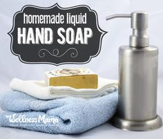 This liquid hand soap is a cost effective and natural alternative to store bought soaps and only water and natural bar soap are needed to make it!