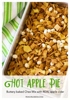 This hot apple pie Chex Mix is the best sweet Chex Mix recipe you will ever find. Sweet cereal coated in a pie spiced butter sauce with REAL apple cider for flavor! Yogurt Covered Raisins, Snack Mix Recipes, Snack Mixes, Apple Chips, Puppy Chow, Fall Treats, Fall Snacks, After School Snacks, Apple Recipes