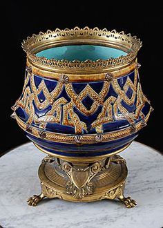 French Antique Majolica Bronze mounted Centerpiece Jardiniere Attributed to Sarreguemines
