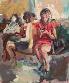 Original Painting collected Artist Samuel Burton BA Woman in Red Dress art