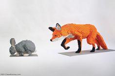 LEGO fox hunting a rabbit - Wow!!!!