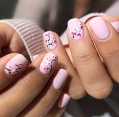 By Olive & June - Cherry blossom nail art. By Olive & June - Cherry blossom nail art. By Olive & June - Cherry blossom nail art. By Olive & June - Floral Nail Art, White Nail Art, White Nails, Trendy Nail Art, Stylish Nails, Nail Art Hacks, Cherry Blossom Nails, Cherry Blossoms, Korean Nails