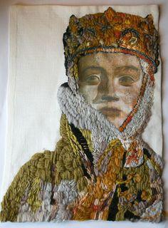 Textile art hand embroidered image of stone by yarnsandfabrics