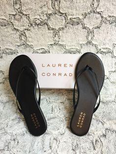 bac07e052904 LC Lauren Conrad Black Pixii Womens Thong Flip Flops Slip-On Sandals Size 8  M