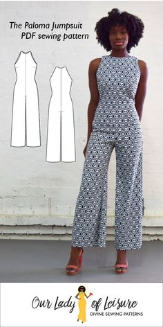The Paloma Jumpsuit Sewing Pattern by Our Lady of Leisure Paloma // Wide Leg Jumpsuit Pattern. Palazzo Jumpsuit for Beginner Sewing The Paloma Jumpsuit Sewing Pattern by Our Lady of Leisure Tunic Sewing Patterns, Sewing Patterns For Kids, Clothing Patterns, Dress Patterns, Paper Patterns, Pattern Sewing, Vogue Patterns, Pattern Drafting, Vintage Patterns