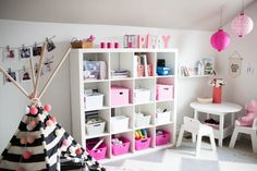 Modern Office Playroom Combo - Red Tricycle - Modern Office Playroom Combo white and pink modern playroom office combo - Modern Playroom, Office Playroom, Playroom Organization, Playroom Design, Guest Room Office, Playroom Ideas, Nursery Office Combo, Toddler Playroom, Nursery Ideas