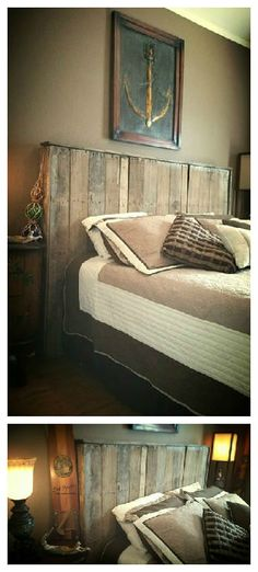 I made this pallet headboard for a bed by using two large pallets that had roofing tiles on them.   #Bedroom, #Rustic