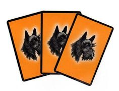 Vintage circa 1950s Scotty Dog Themed Playing Cards. Black Scottie Dog with on an Orange background with black border. Cards measure the standard 2.25 x 3.5 inches. Cards are in very good condition wi
