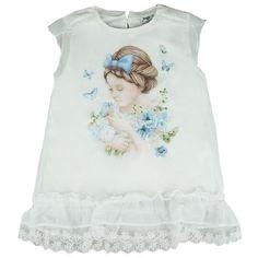 Honey & Clover Kidswear / Children's Apparel | Cream Girl & Butterfly Top (Blue) by Mayoral