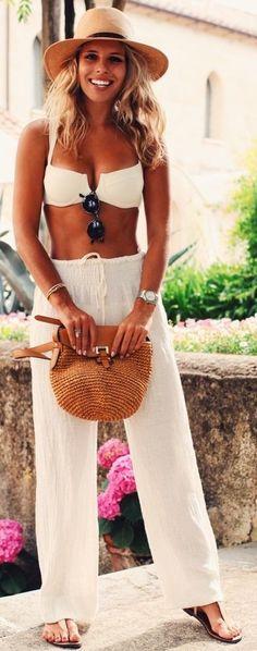 #summer #trending #style   White Pant Set + Pop Of Camel