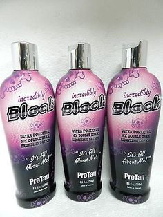 You will receive 3 BRAND NEW Unopened Authentic oz. bottles of Pro Tan's Incredibly Black Ultra Powerful Double Dark Bronzing Tanning Lotion. Best Tanning Lotion, Suntan Lotion, Pro Tan, Sun Protection, Body Wash, Bronzer, Your Skin, Indoor, Personal Care