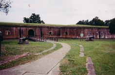 """Fort Pike was constructed in 1818 to guard the Rigolets Pass (pronounced """"rigolees"""") from reinvasion by the British. The Pass connects Lake Pontchartrain and Lake Catherine to Lake Borgne and the Gulf of Mexico. The Fort is now within the city limits of New Orleans and the Rigolets Pass forms one of the boundaries between Orleans and St. Tammany Parishes. Fort Pike was abandoned in 1890 and for many years had been a noteworthy tourist attraction."""