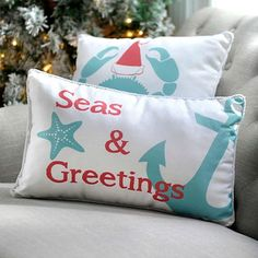 Christmas Sayings on Pillows for a Coastal Beach Themed Holiday: http://www.completely-coastal.com/2015/11/christmas-sayings-pillows.html