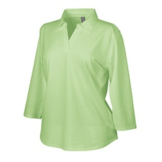 Ladies 3/4-Sleeve Polo. 96% Tanguis cotton/4% spandex jersey / self-fabric collar / 3/4-length sleeves / bound buttonless placket / shirttail with extended back hem / machine wash and dry / 6.4 oz. / XS-3XL $30 range