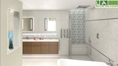 This bathroom rendering showcases our spectacular tile selection!