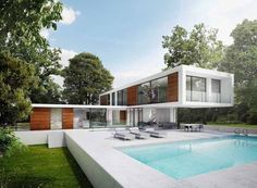 We are a leading firm of residential architects specialising in designing contemporary new homes and period renovations in London, Surrey and the South East Architects London, Sauna Design, Vertical Garden Design, Modern Villa Design, 3d Architectural Visualization, Residential Architect, Open Plan Living, White Houses, Outdoor Living