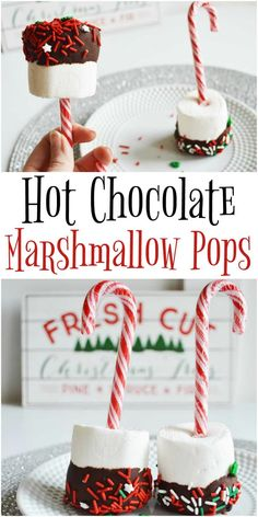 Hot Chocolate Marshmallow Pops These cuteMarshmallow Pops are the perfect thing to step up your hot chocolate game. Chocolate, candy canes, marshmallows - you can't go wrong with this delicious treat! Hot Chocolate Gifts, Christmas Hot Chocolate, Chocolate Sticks, Chocolate Pops, Chocolate Marshmallows, Hot Chocolate Bars, Hot Chocolate Recipes, Peppermint Chocolate, Hot Chocolate Toppings