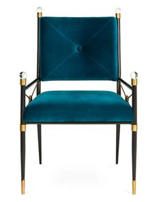 Rider Dining Armchair by Jonathan Adler at Neiman Marcus Blue Velvet Dining Chairs, Dining Arm Chair, Living Room Chairs, Dining Rooms, Dining Table, Chaise Floral, Floral Chair, Blue Armchair, Chair And Ottoman