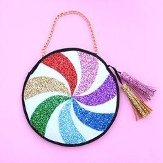 Glitter Rainbow Candy Swirl Clutch Handbag - LIMITED EDITION