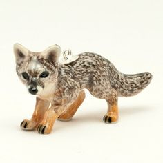 Porcelain Animal Necklace  Gray Fox Pendant with by mogoandco, $30.00