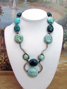 Turquoise and Hill Tribes Silver Necklace - T28 by daksdesigns on Etsy