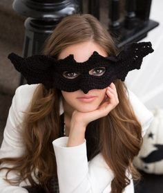"Original pinner said, ""Mask Gone Batty Free Crochet Pattern from Red Heart Yarns"