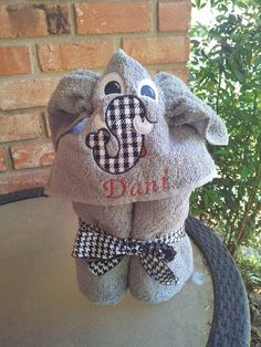 Children's Elephant Hooded Towel   Bama by StartlingStitches, $25.00
