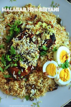 Biryani at its best - Delicious Malabar Fish Biryani? This is a very simple Biryani that tastes delicious! The fish is pan fried, prior to layering it with rice. Fish Recipes, Indian Food Recipes, Recipies, Briyani Recipe, Fish Biryani, Kerala Food, Cooking Recipes, Healthy Recipes, Spicy Recipes